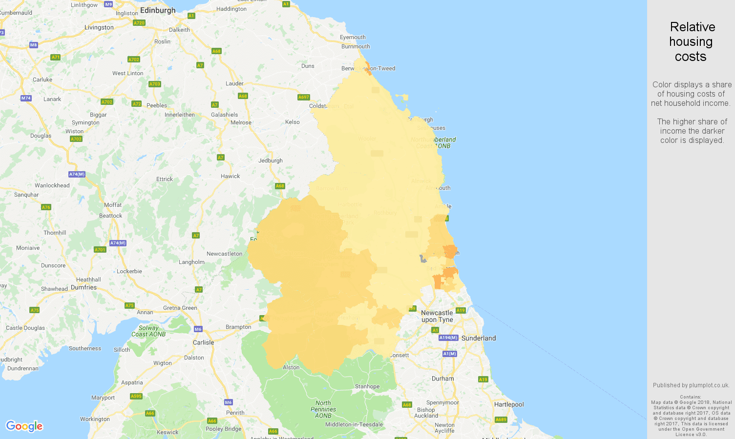 Northumberland relative housing costs map