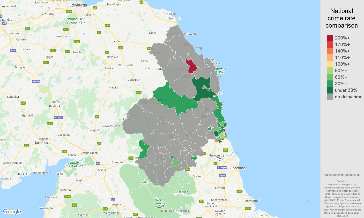 Northumberland theft from the person crime rate comparison map