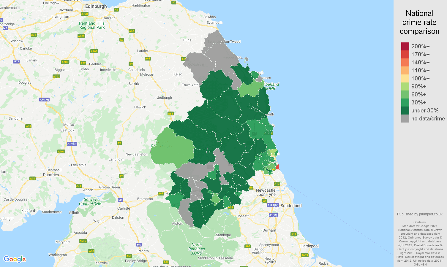 Northumberland vehicle crime rate comparison map