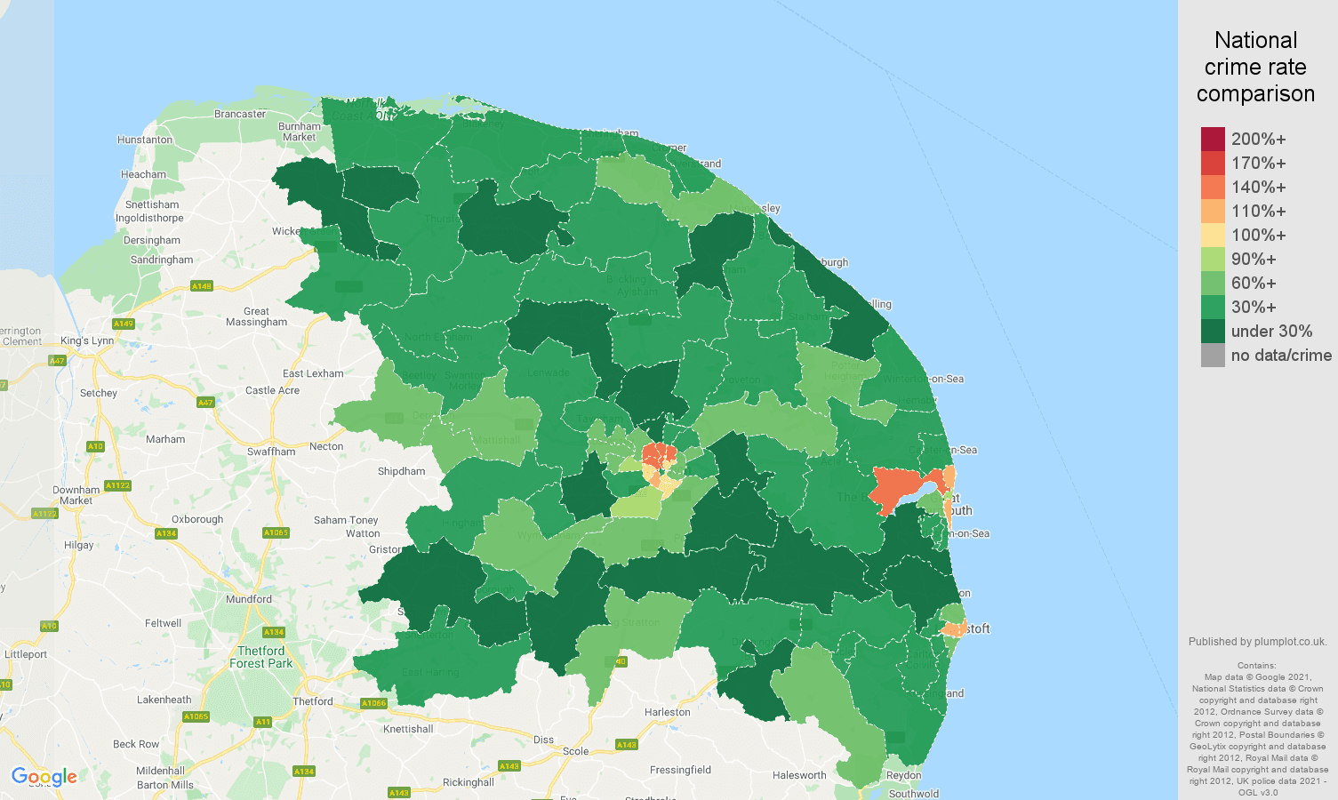 Norwich burglary crime rate comparison map