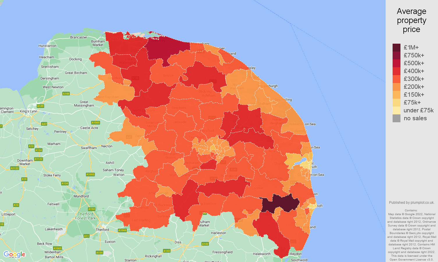 Norwich house prices map