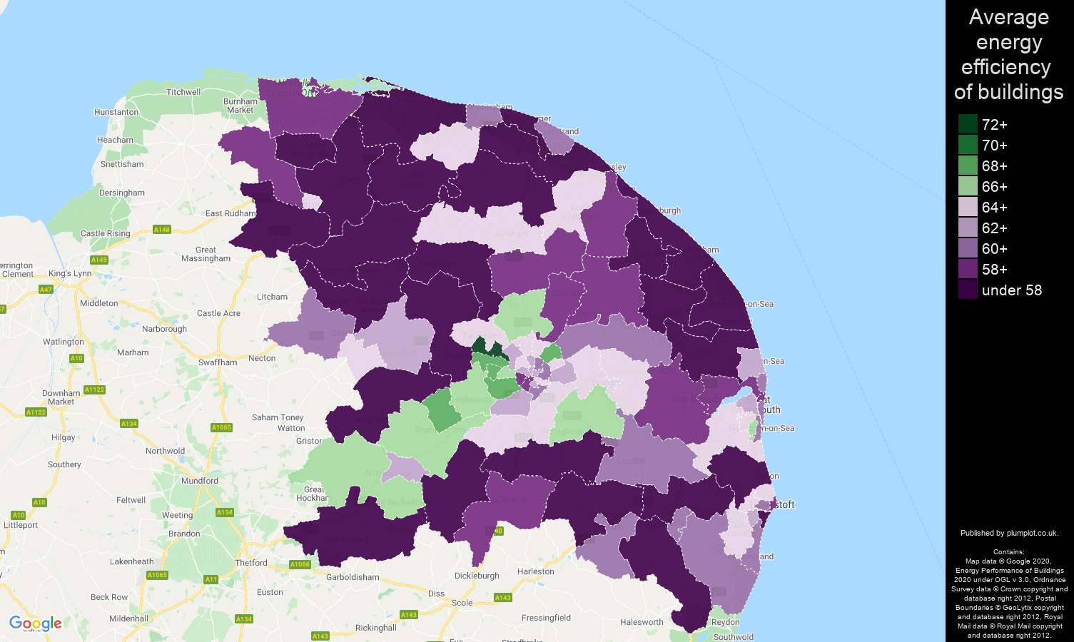 Norwich map of energy efficiency of houses