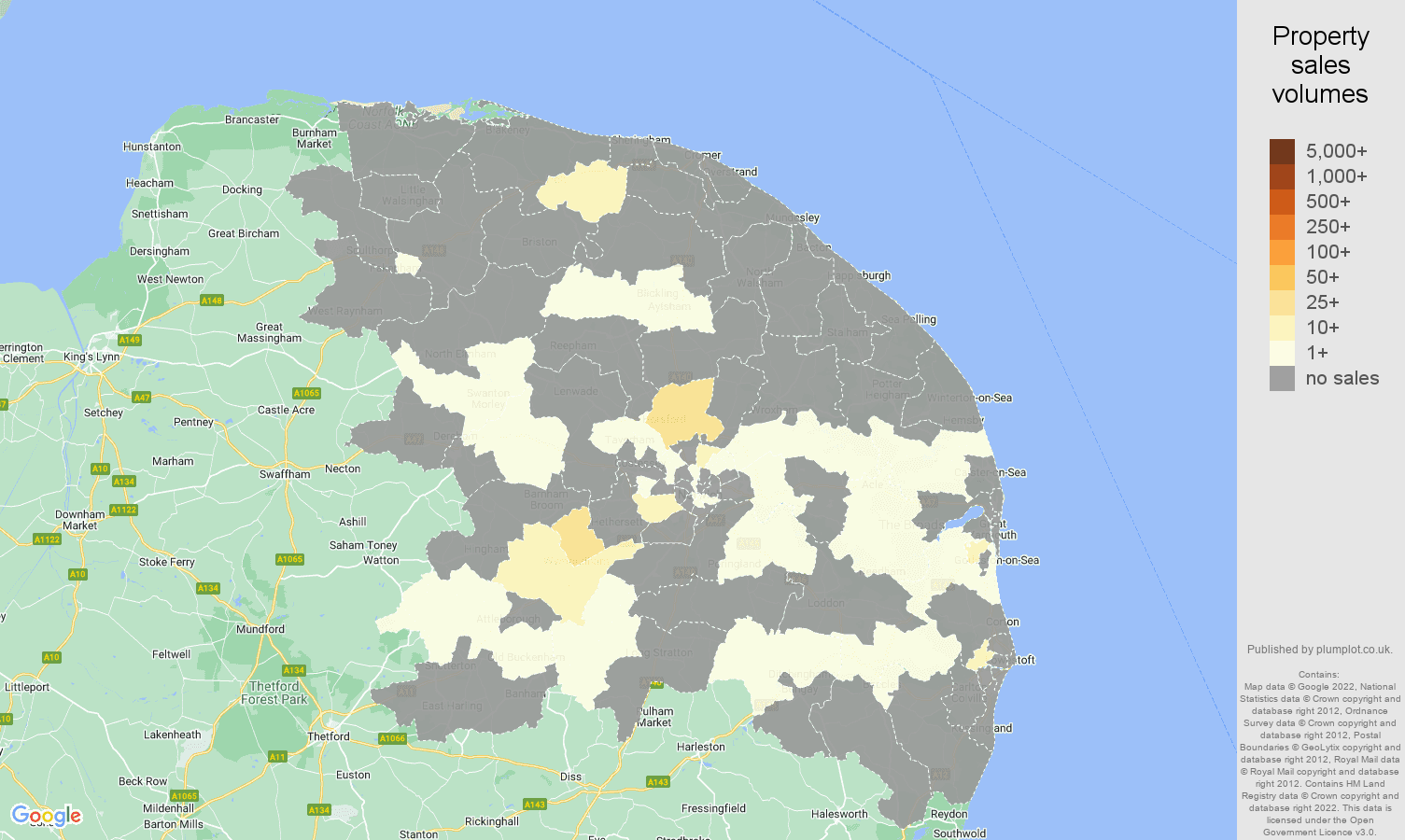Norwich map of sales of new properties