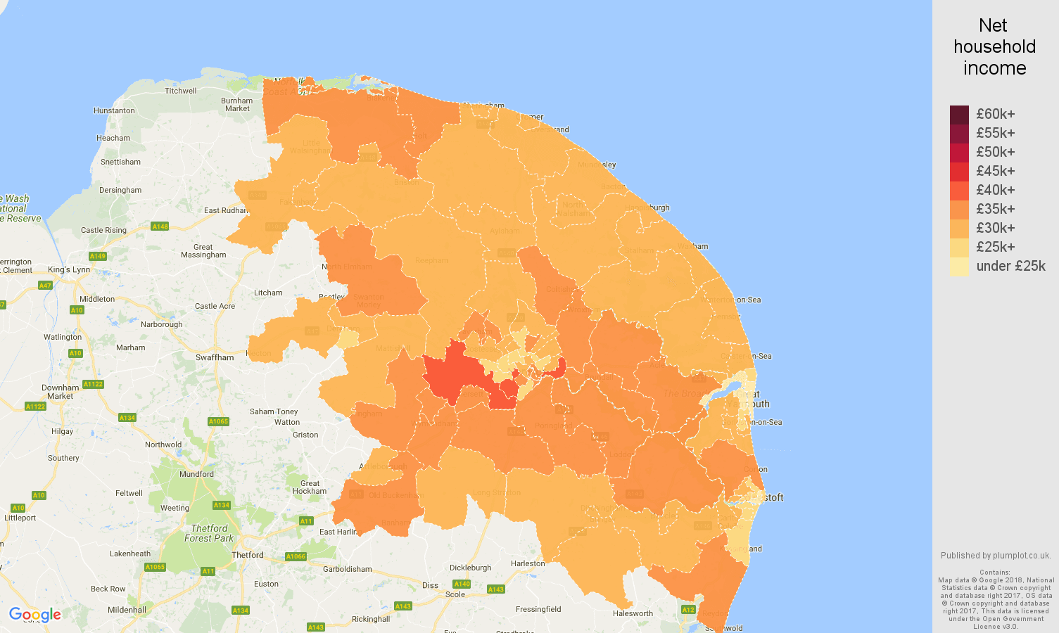 Norwich net household income map