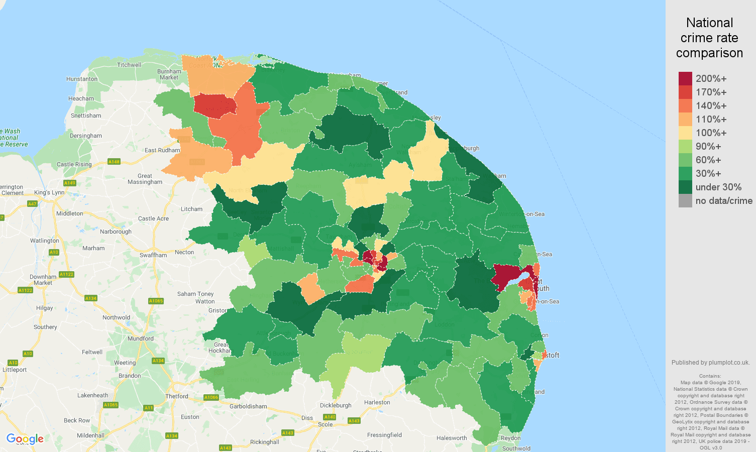 Norwich other crime rate comparison map