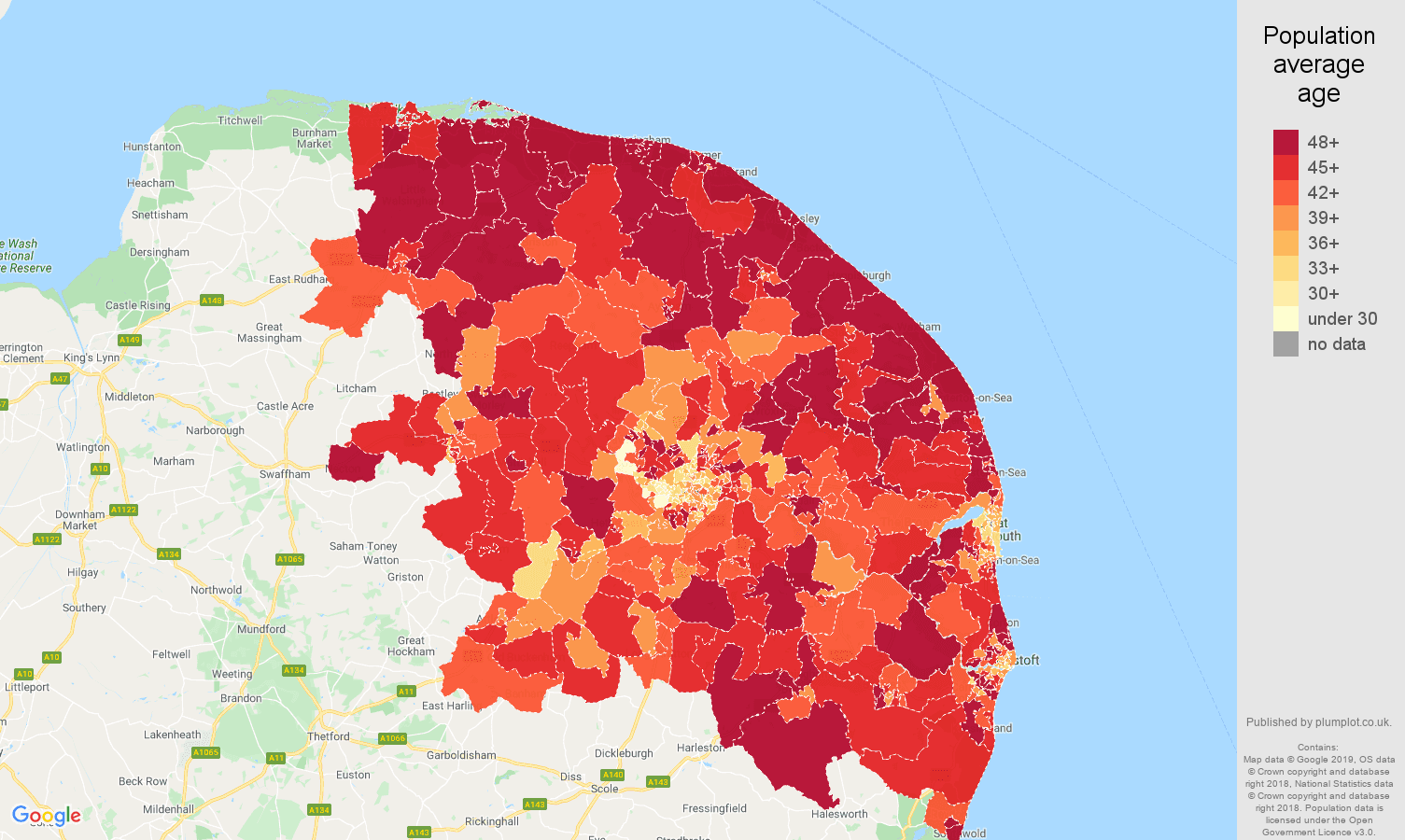Norwich population average age map