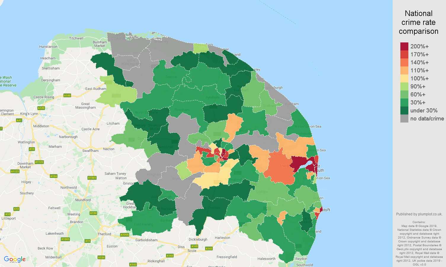Norwich possession of weapons crime rate comparison map