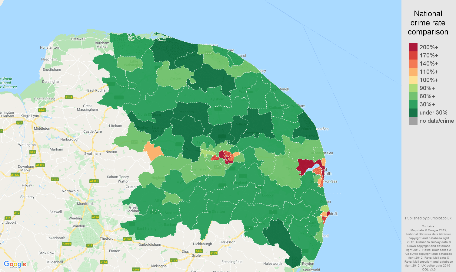 Norwich public order crime rate comparison map
