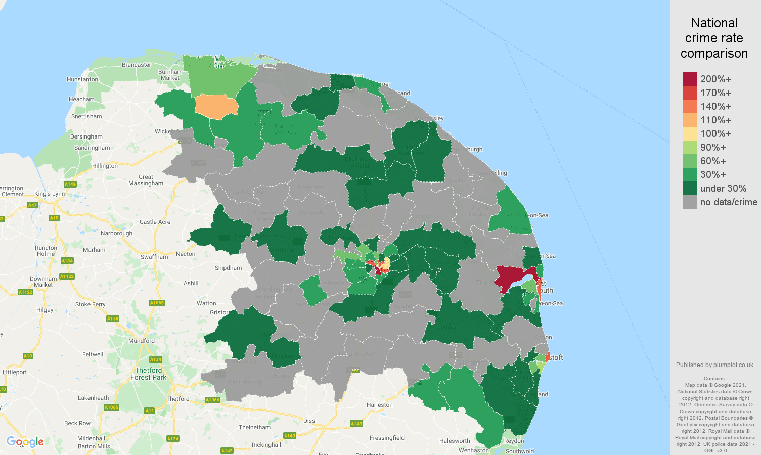 Norwich theft from the person crime rate comparison map