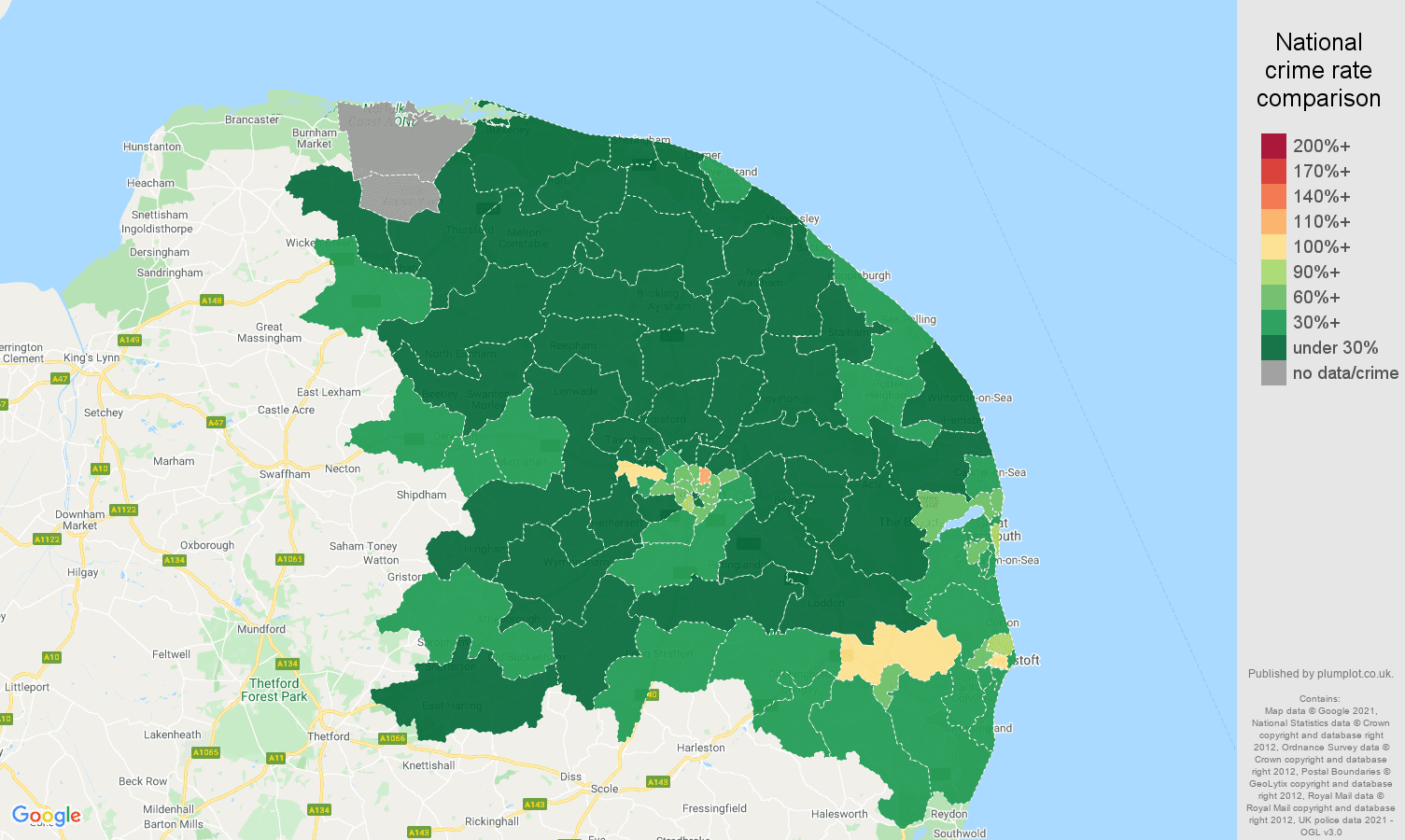 Norwich vehicle crime rate comparison map