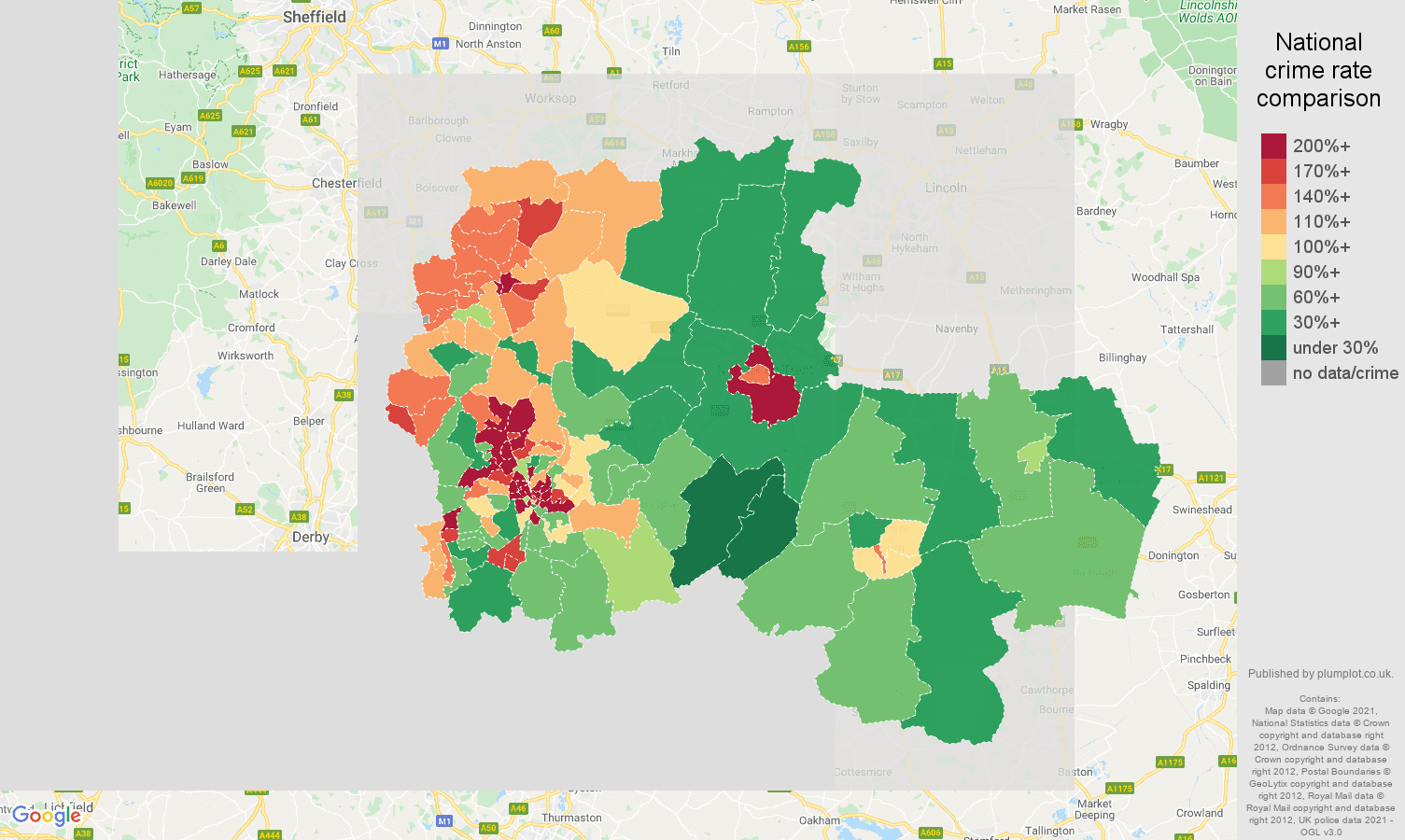 Nottingham antisocial behaviour crime rate comparison map