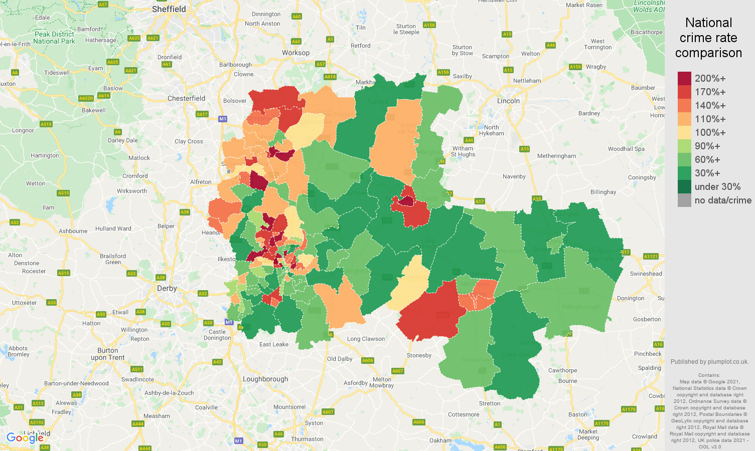 Nottingham criminal damage and arson crime rate comparison map