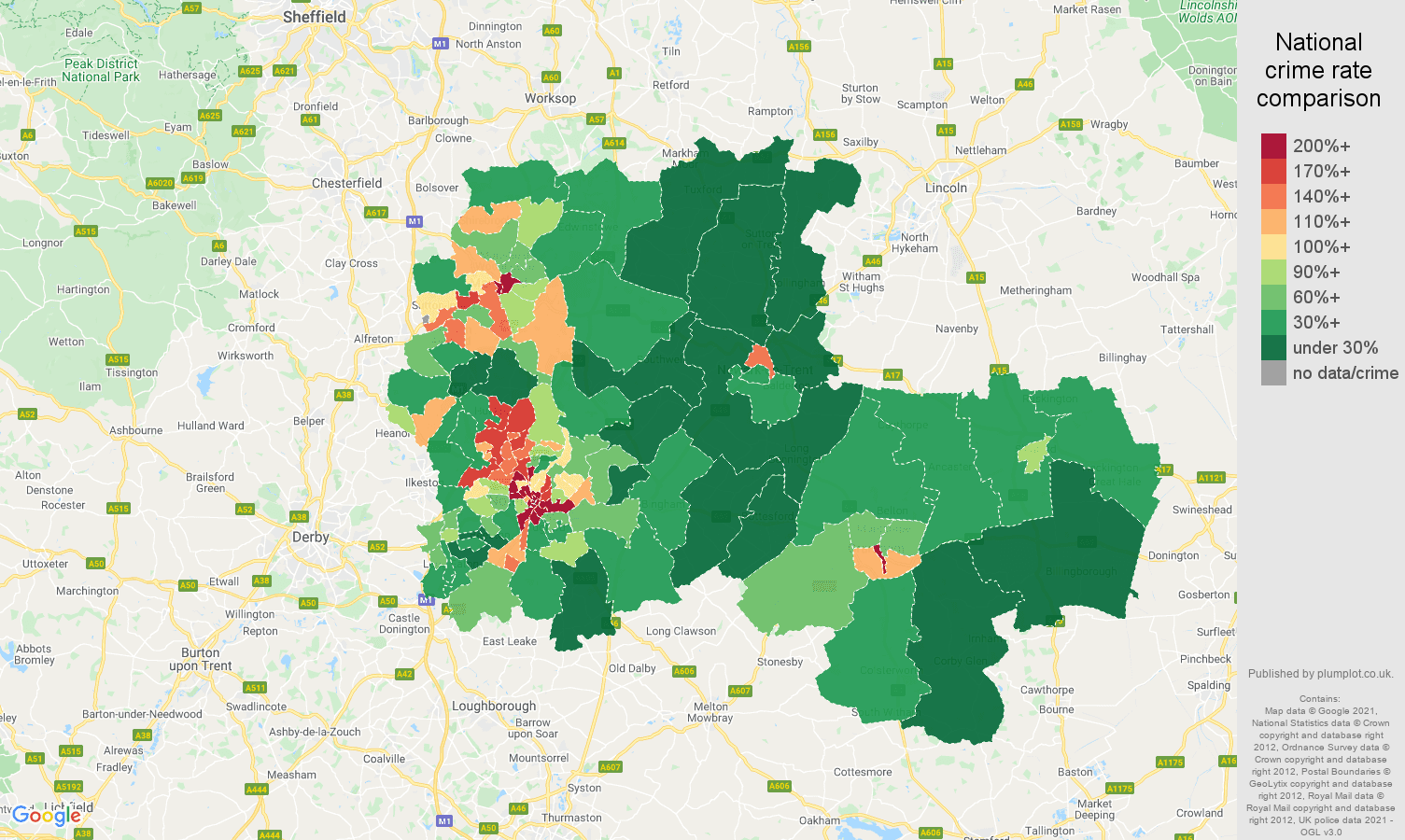 Nottingham drugs crime rate comparison map