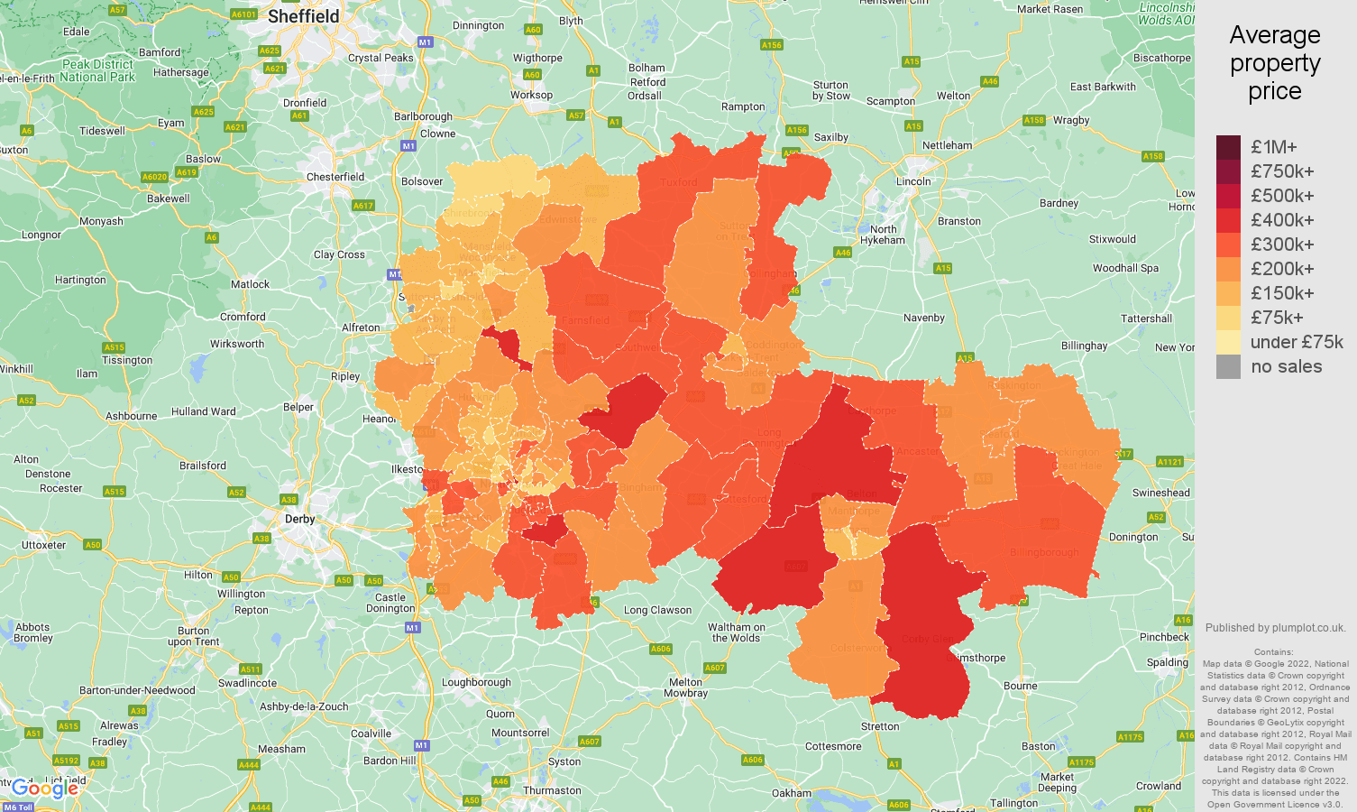 nottingham house prices in maps and graphs. Black Bedroom Furniture Sets. Home Design Ideas