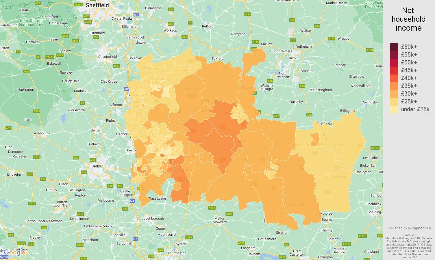 Nottingham net household income map