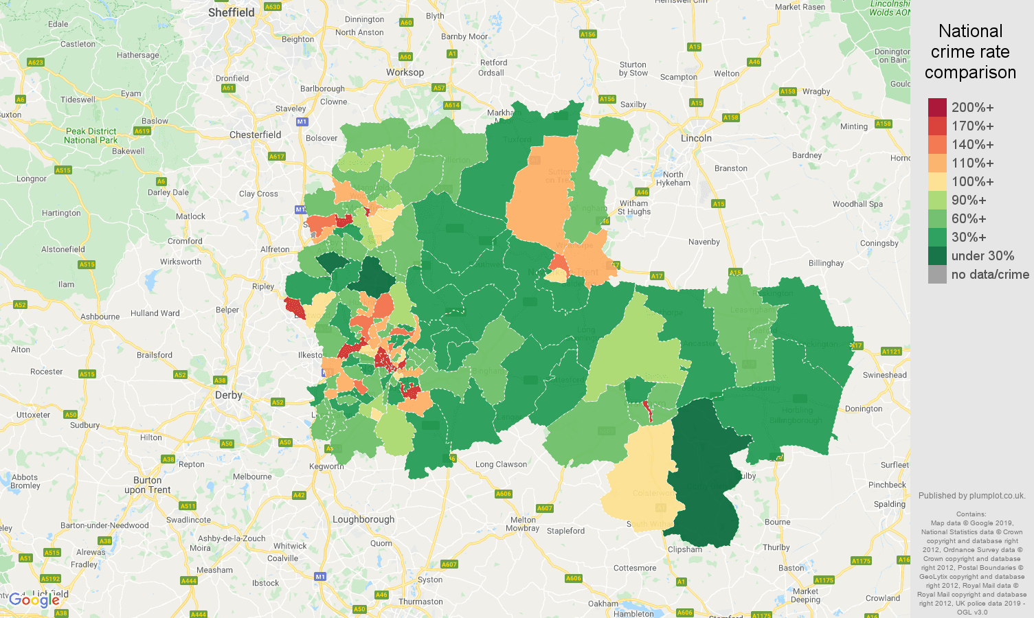 Nottingham other theft crime rate comparison map