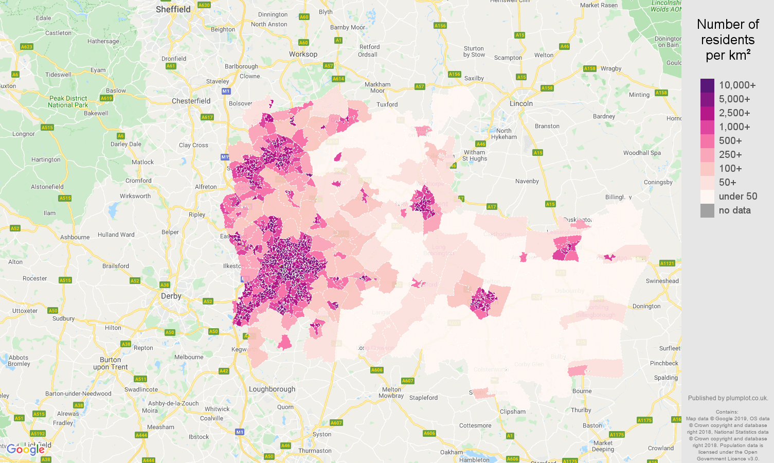 Nottingham population density map