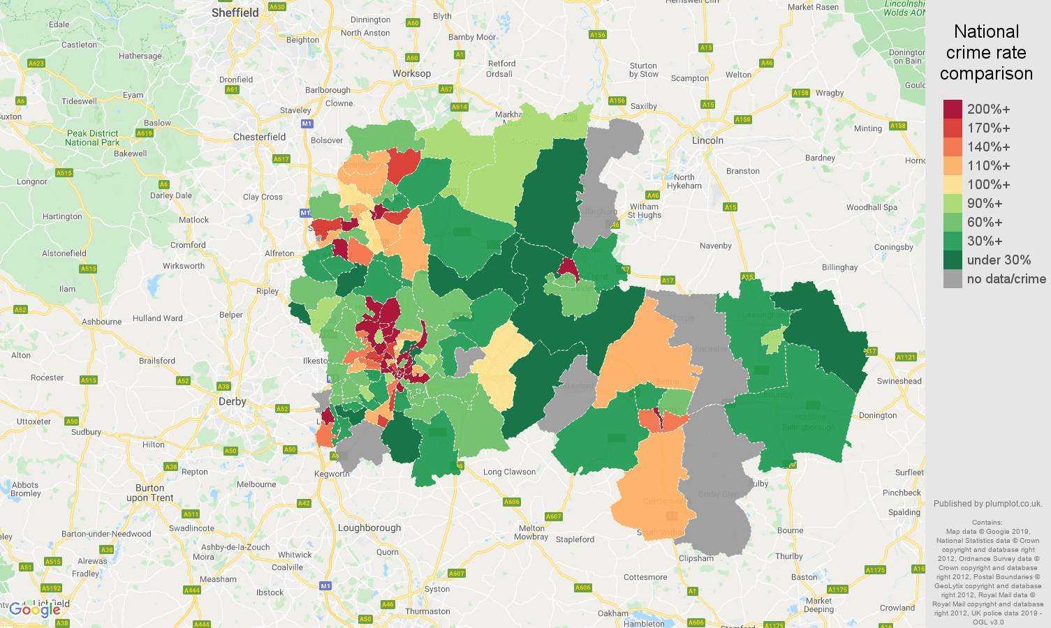 Nottingham possession of weapons crime rate comparison map