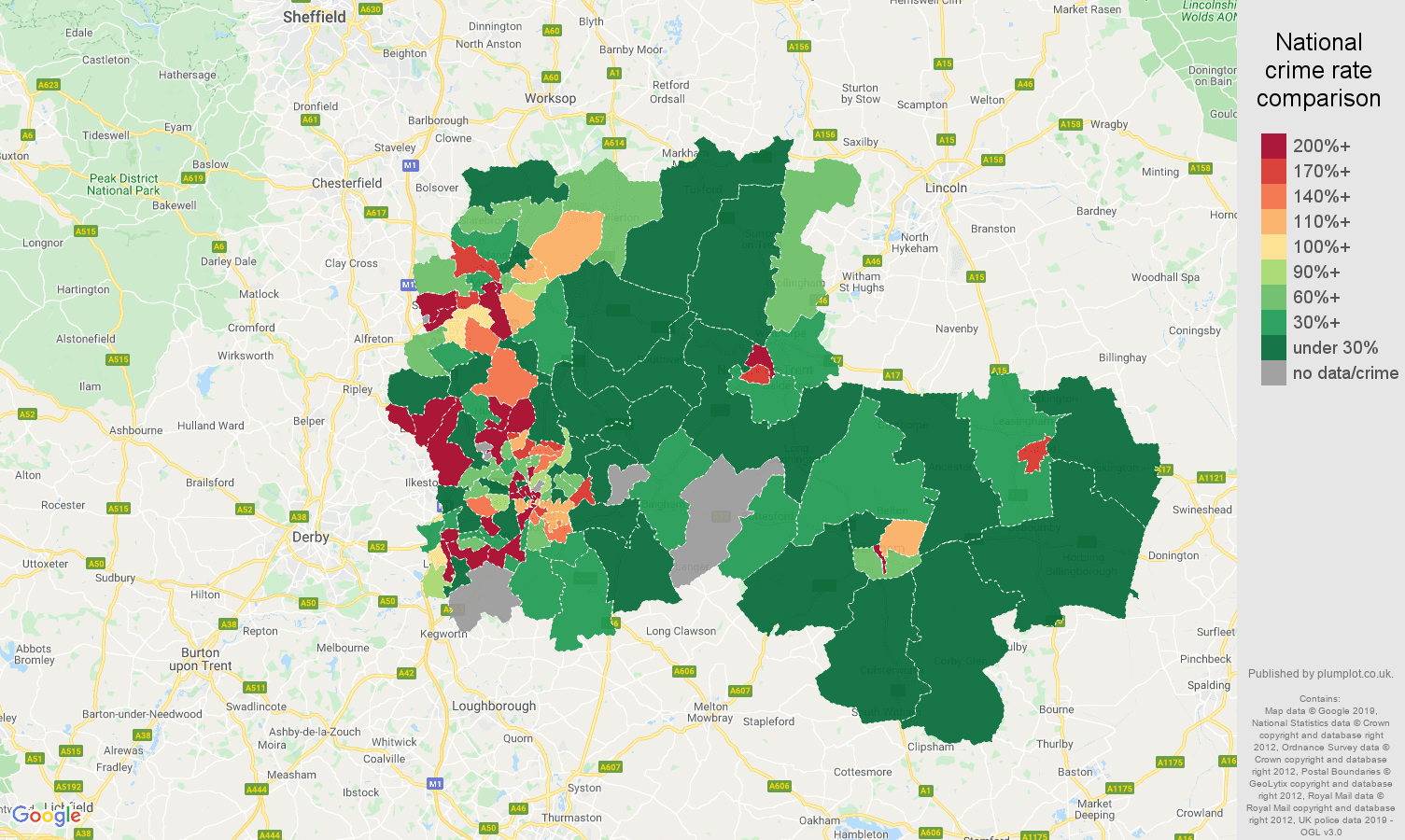 Nottingham shoplifting crime rate comparison map
