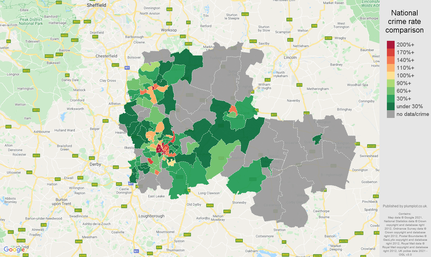 Nottingham theft from the person crime rate comparison map