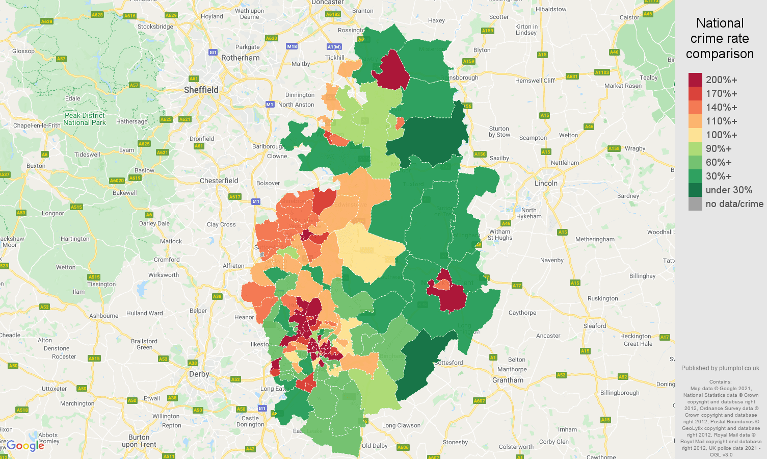 Nottinghamshire antisocial behaviour crime rate comparison map