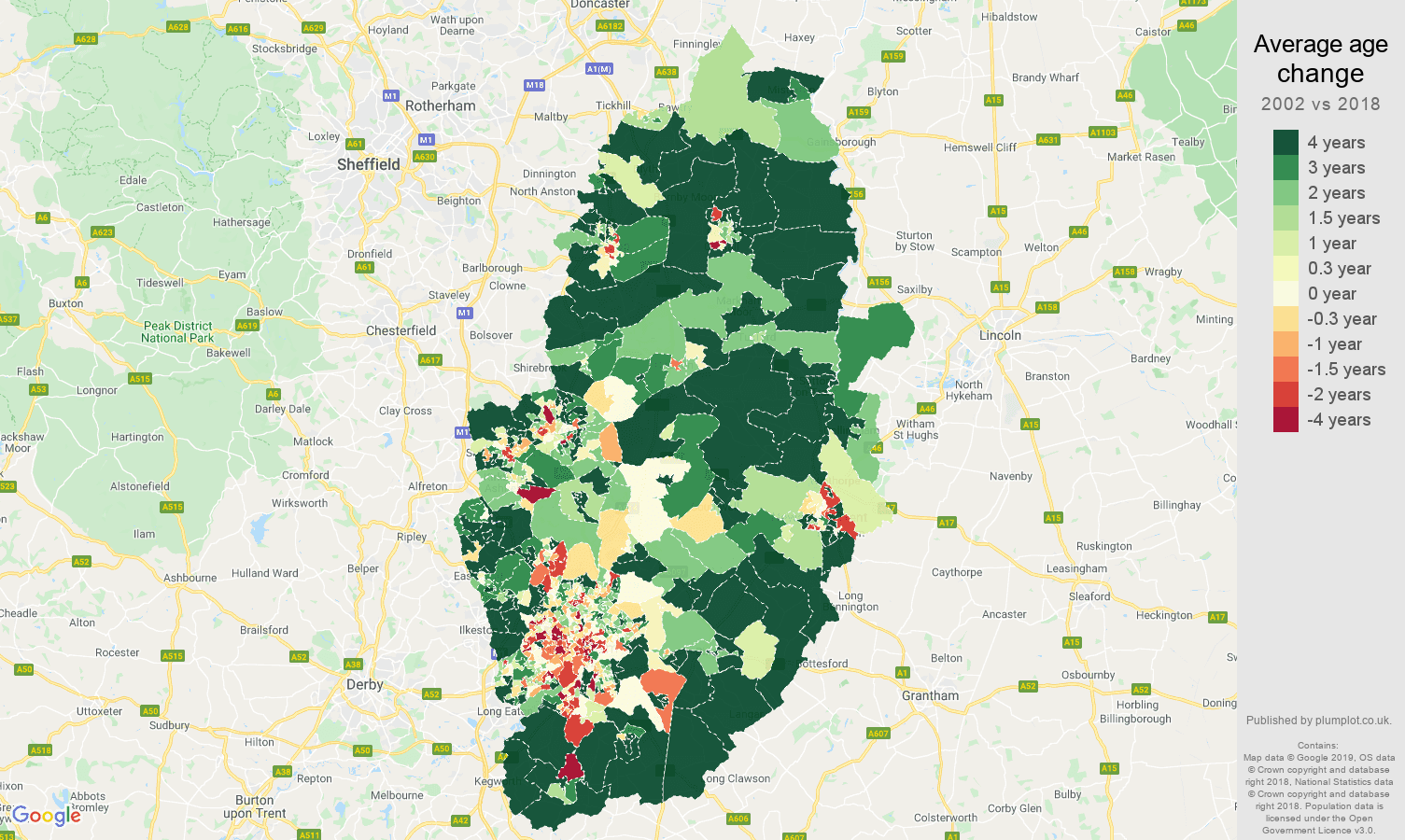 Nottinghamshire average age change map