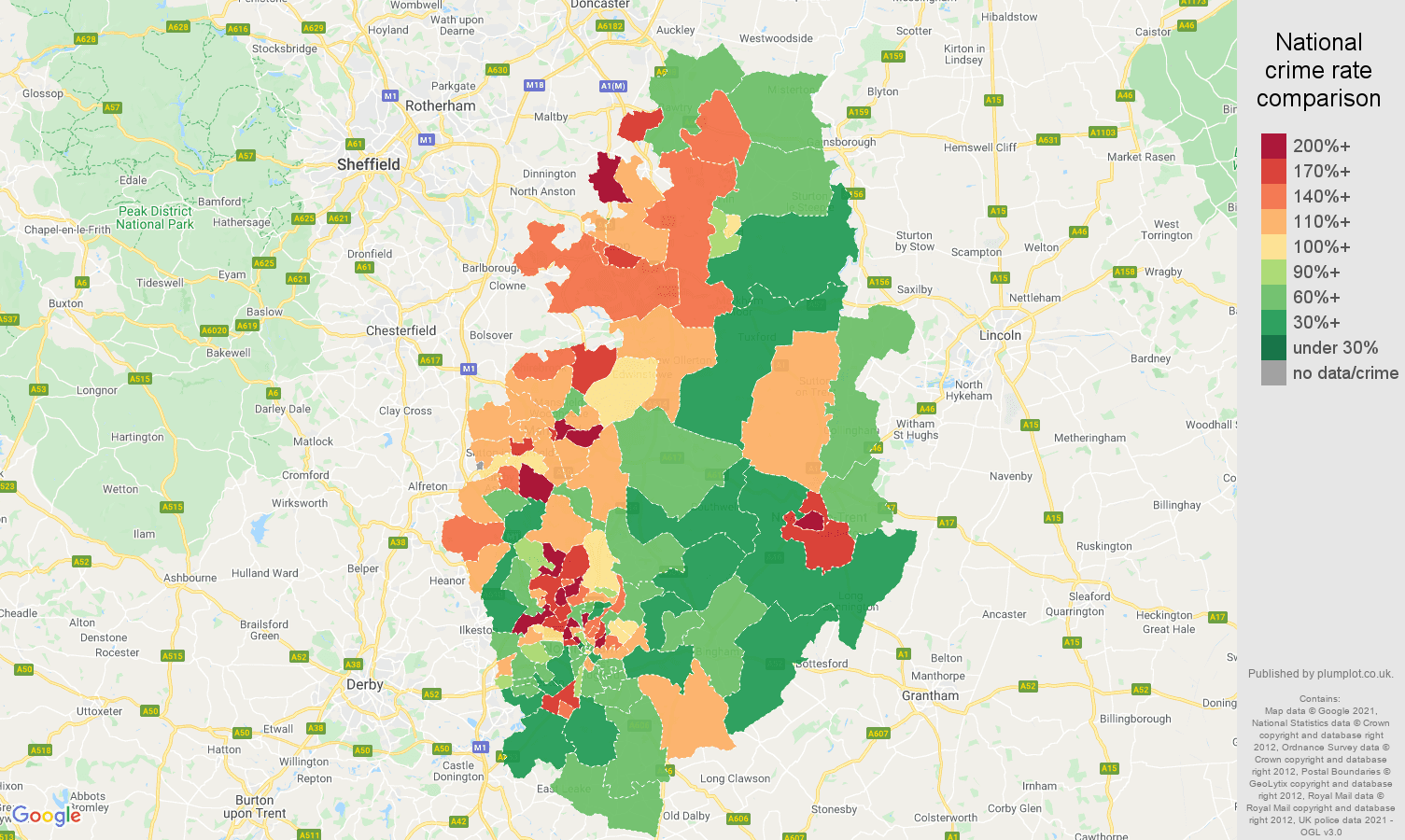 Nottinghamshire criminal damage and arson crime rate comparison map