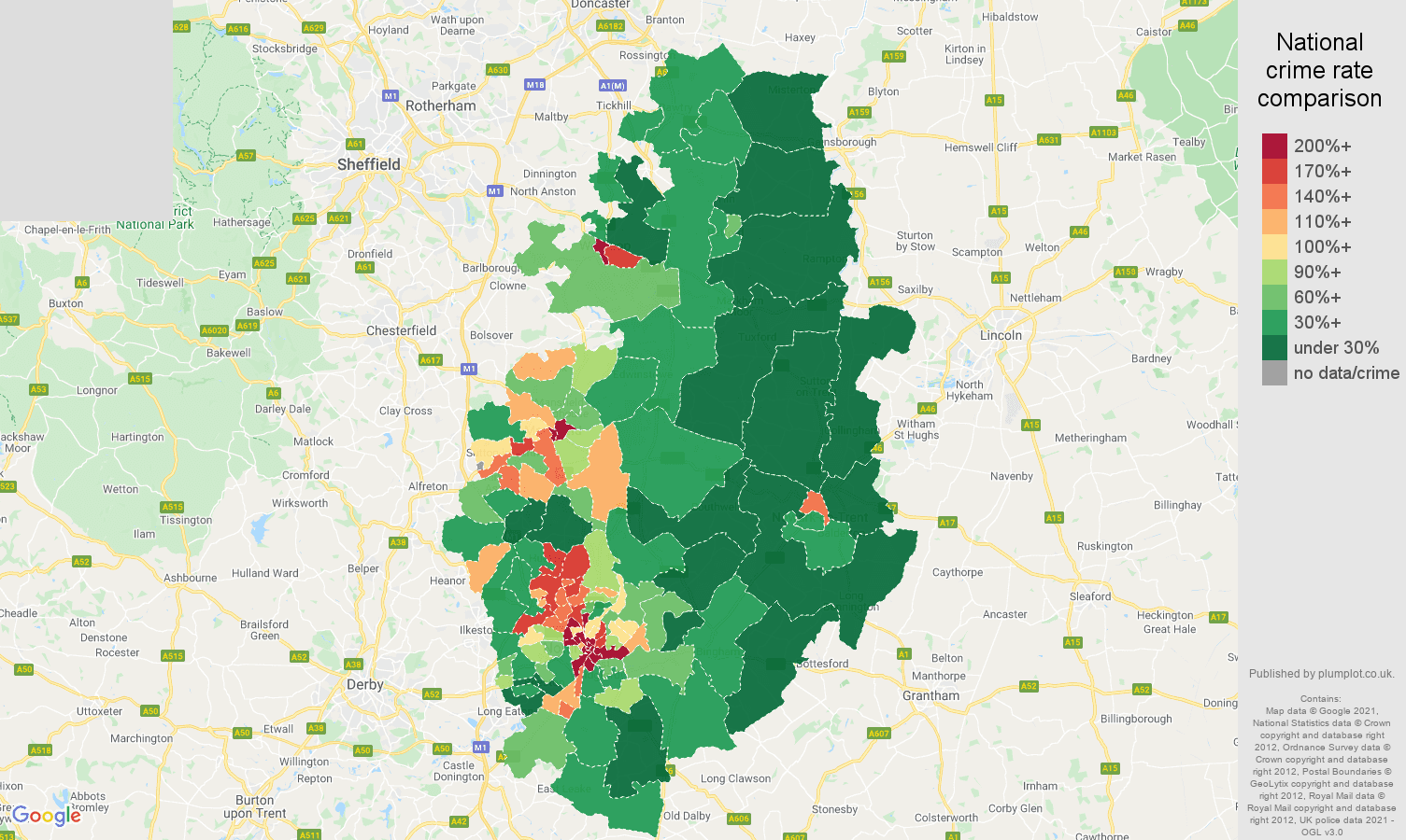 Nottinghamshire drugs crime rate comparison map