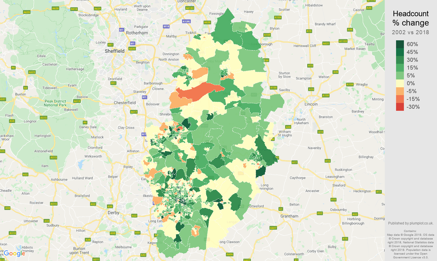 Nottinghamshire headcount change map