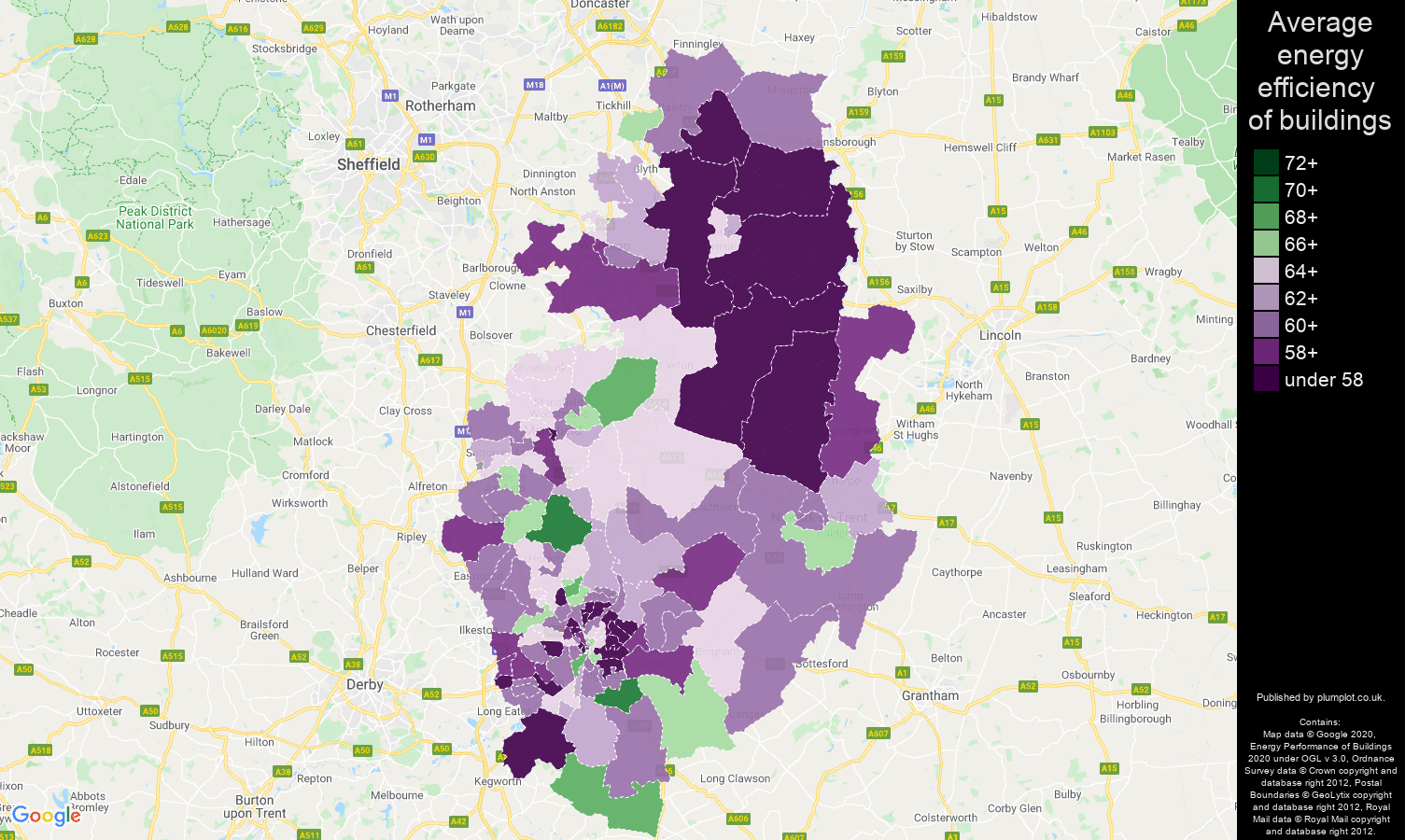 Nottinghamshire map of energy efficiency of houses
