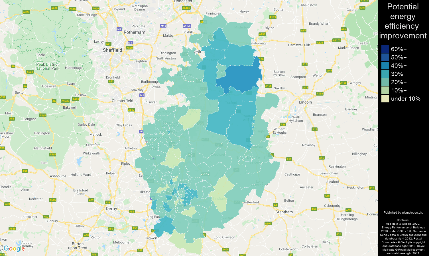 Nottinghamshire map of potential energy efficiency improvement of houses