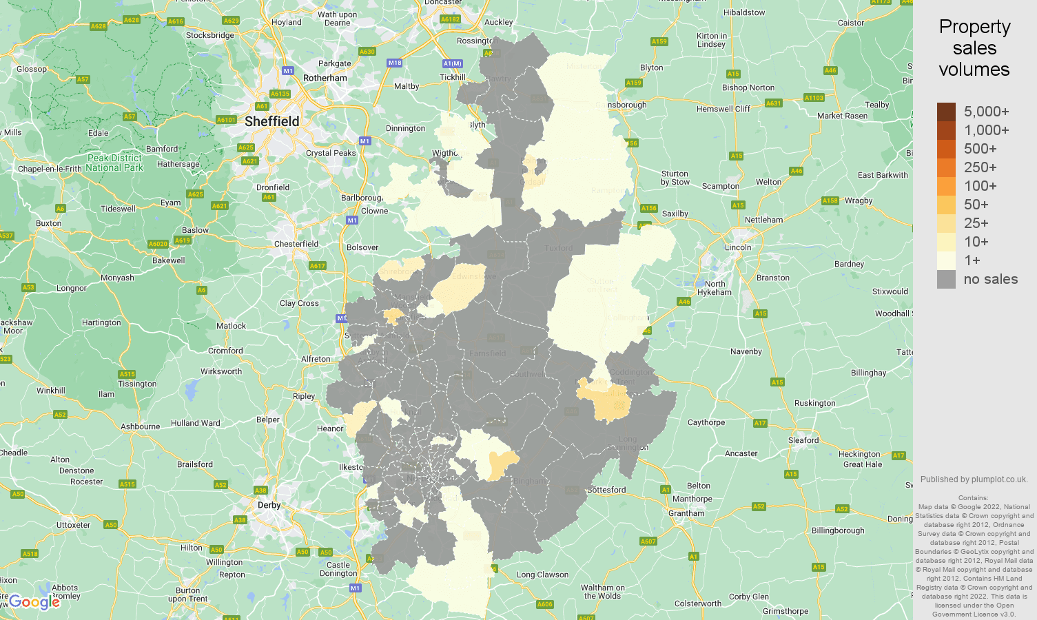 Nottinghamshire map of sales of new properties