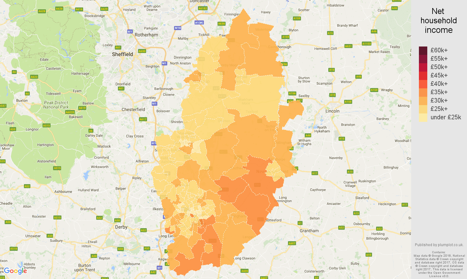 Nottinghamshire net household income map