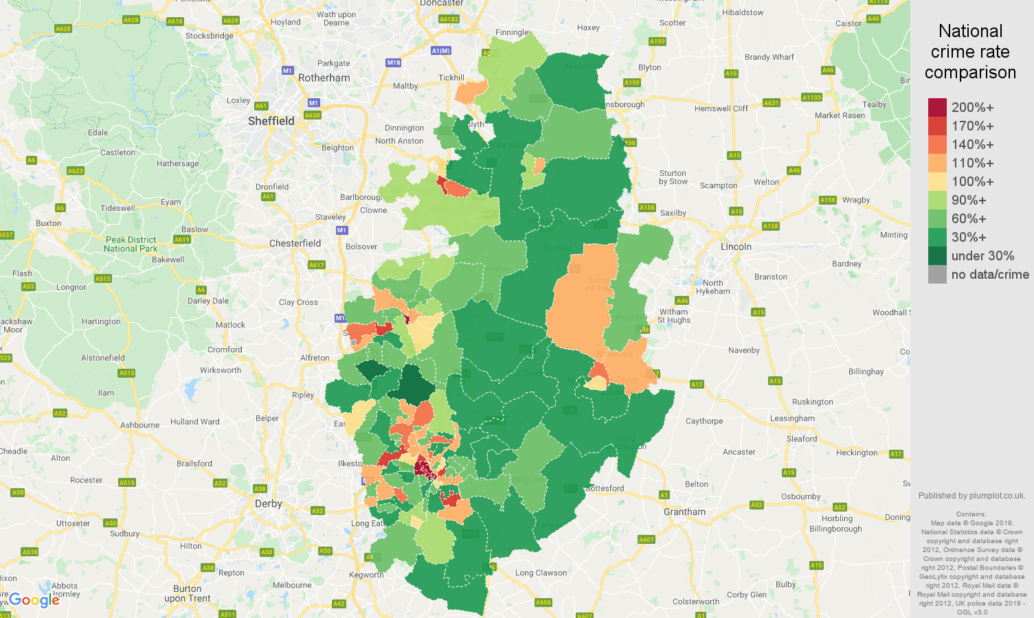 Nottinghamshire other theft crime rate comparison map