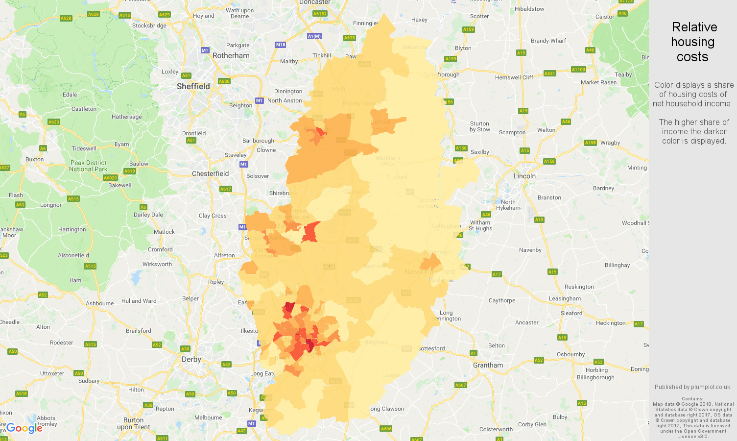 Nottinghamshire relative housing costs map