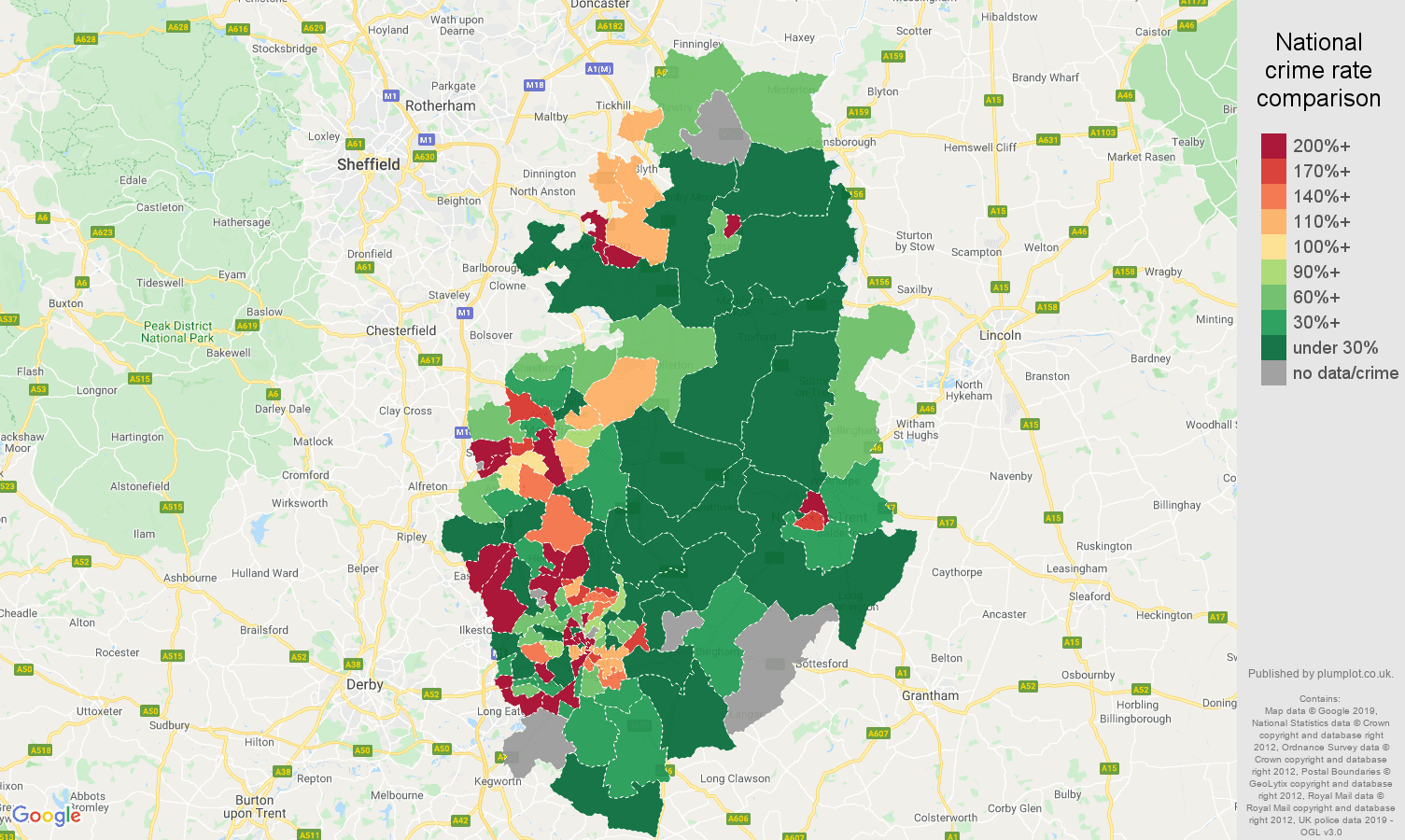 Nottinghamshire shoplifting crime rate comparison map