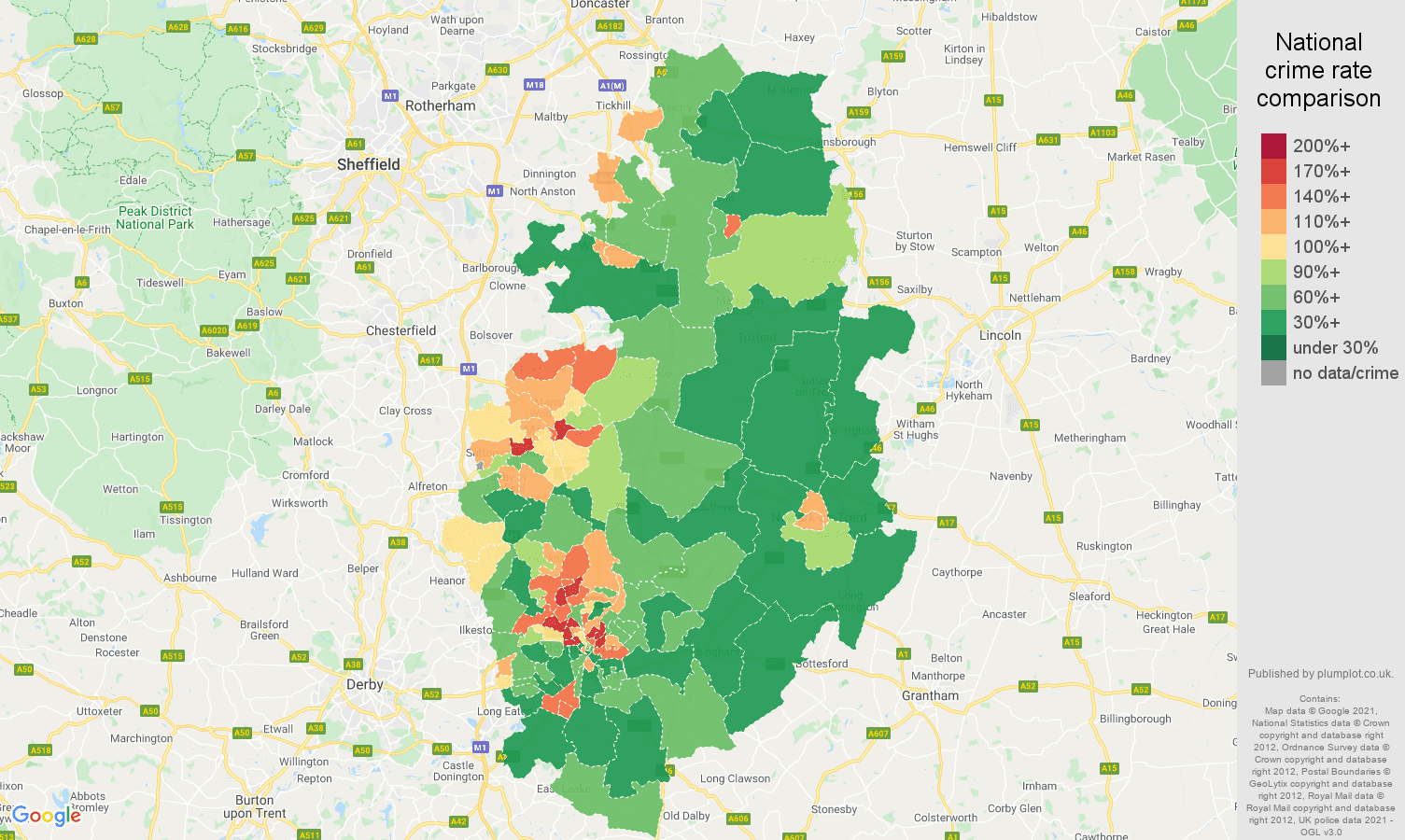 Nottinghamshire violent crime rate comparison map