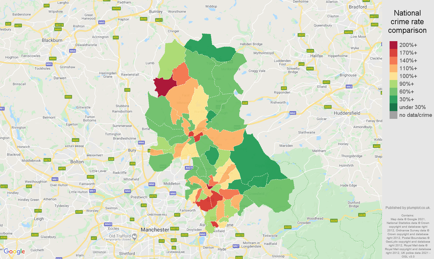 Oldham antisocial behaviour crime rate comparison map