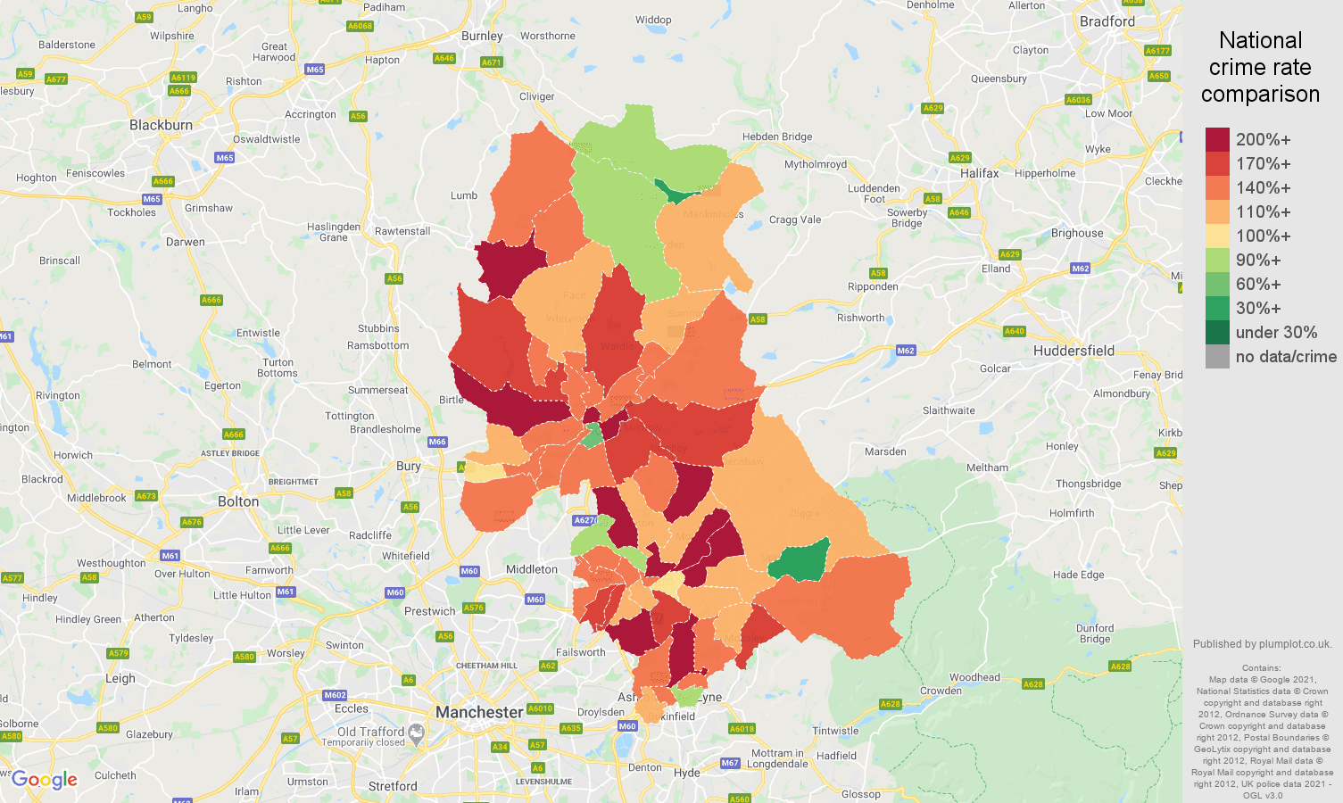 Oldham burglary crime rate comparison map