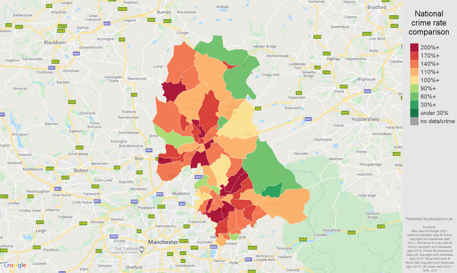 Oldham criminal damage and arson crime rate comparison map