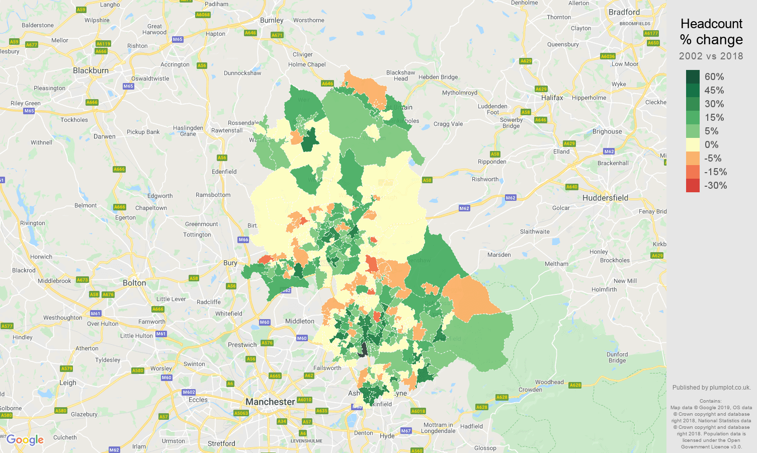 Oldham headcount change map