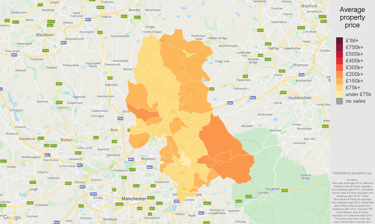 Oldham house prices map