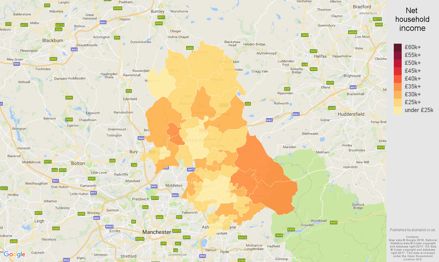 Oldham net household income map