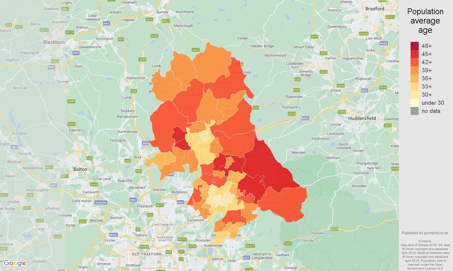 Oldham population average age map