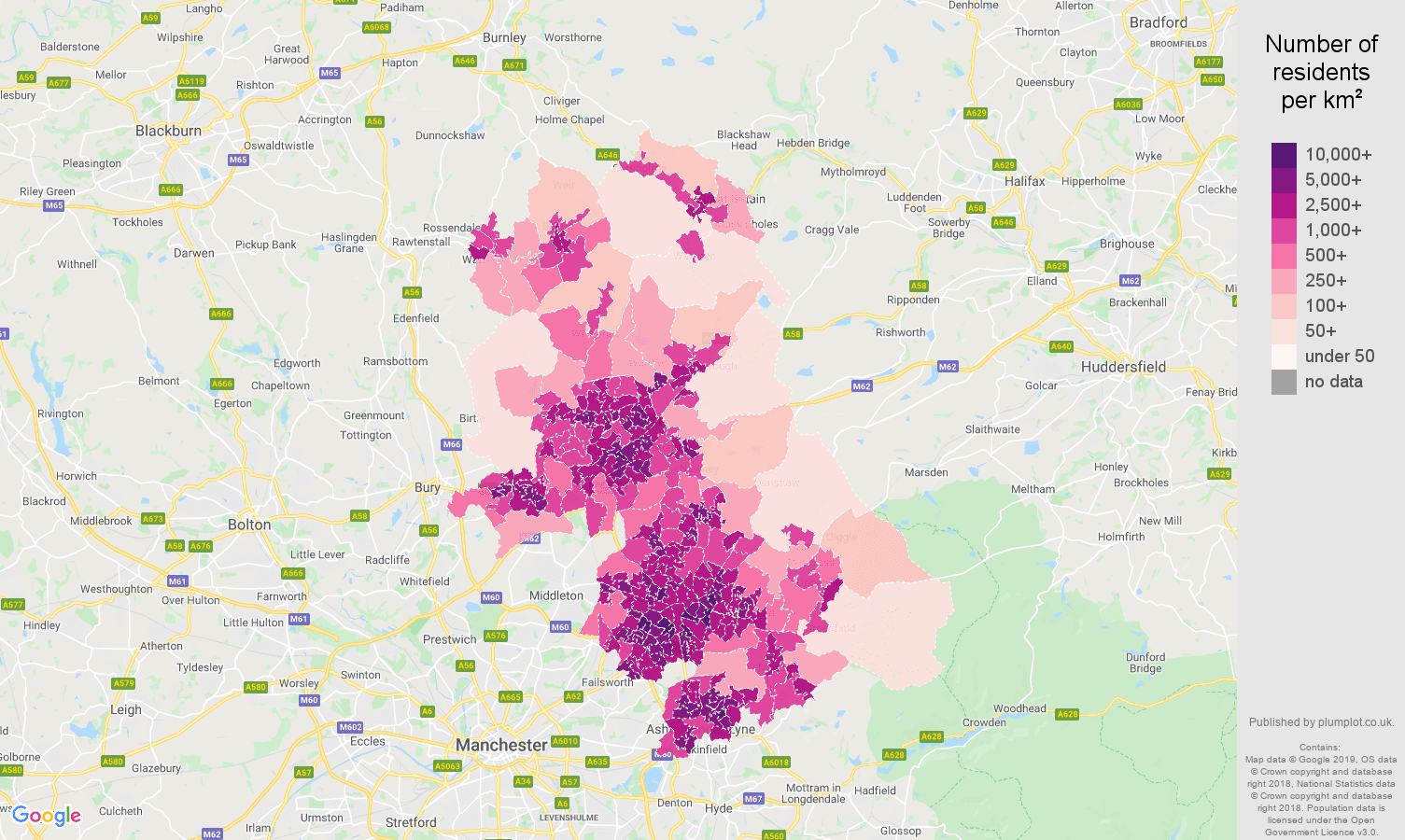 Oldham population stats in maps and graphs