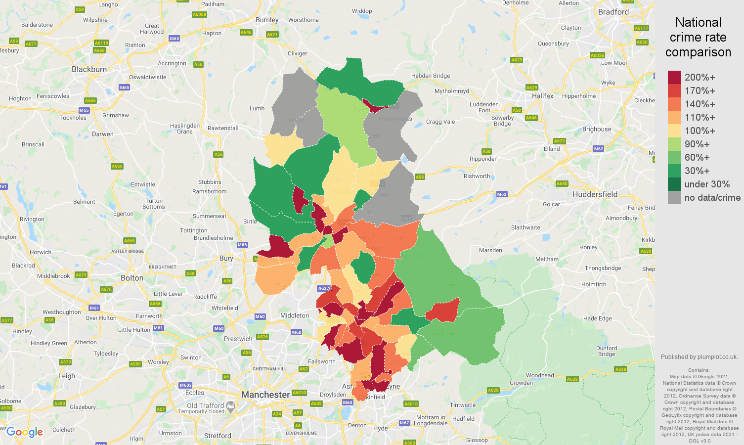 Oldham possession of weapons crime rate comparison map