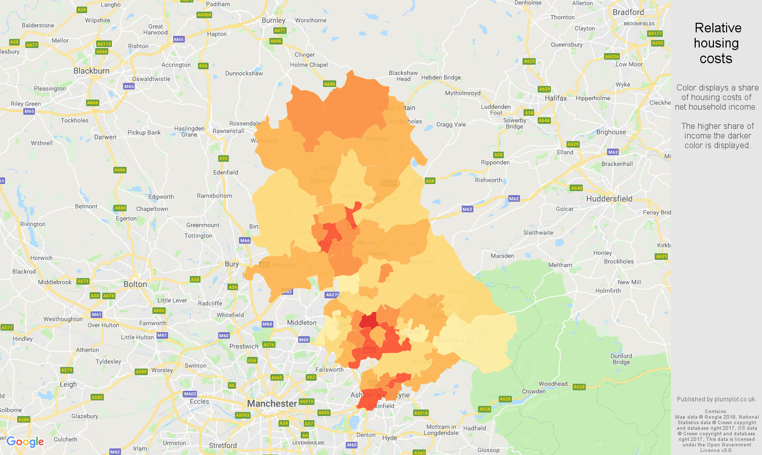 Oldham relative housing costs map