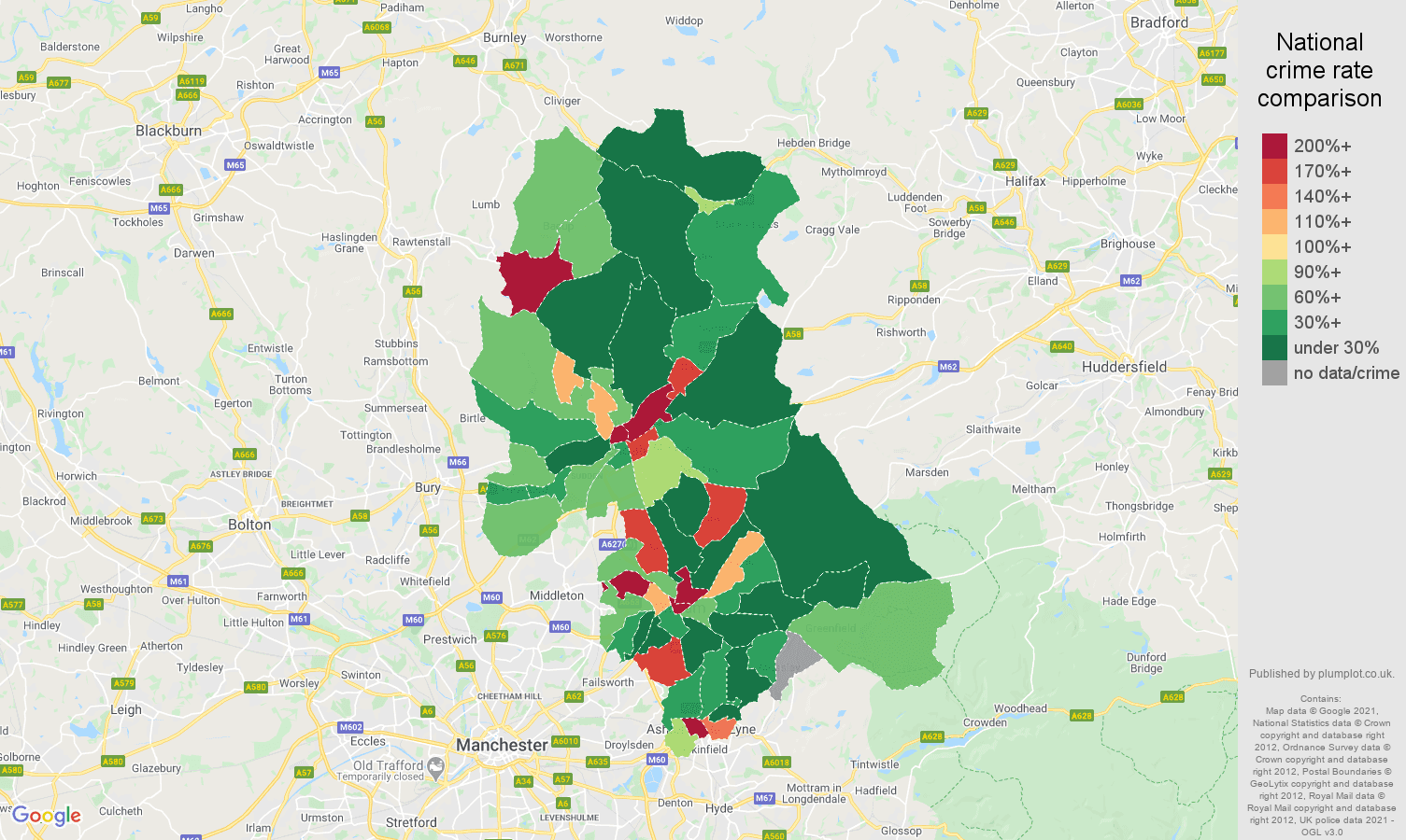 Oldham shoplifting crime rate comparison map
