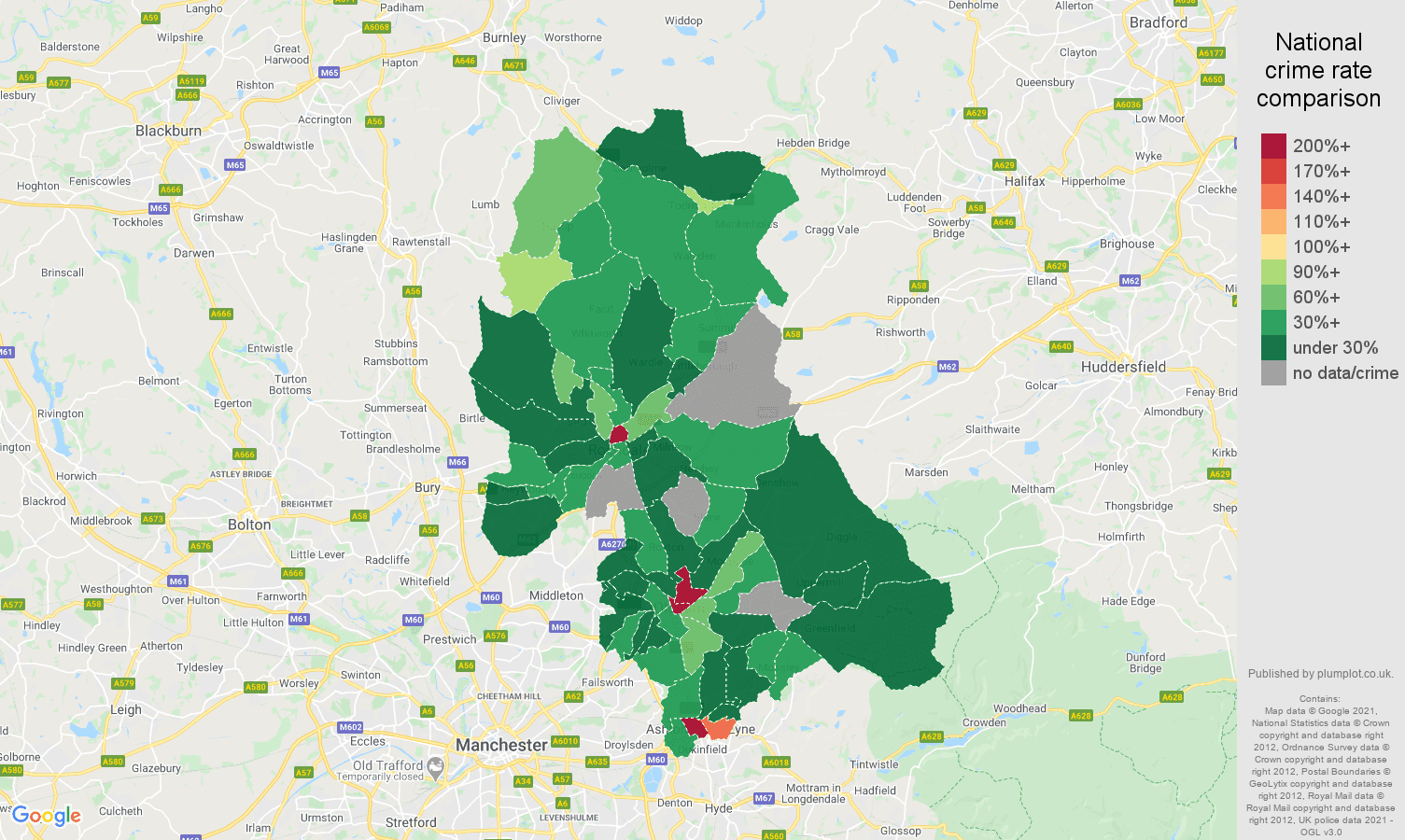 Oldham theft from the person crime rate comparison map
