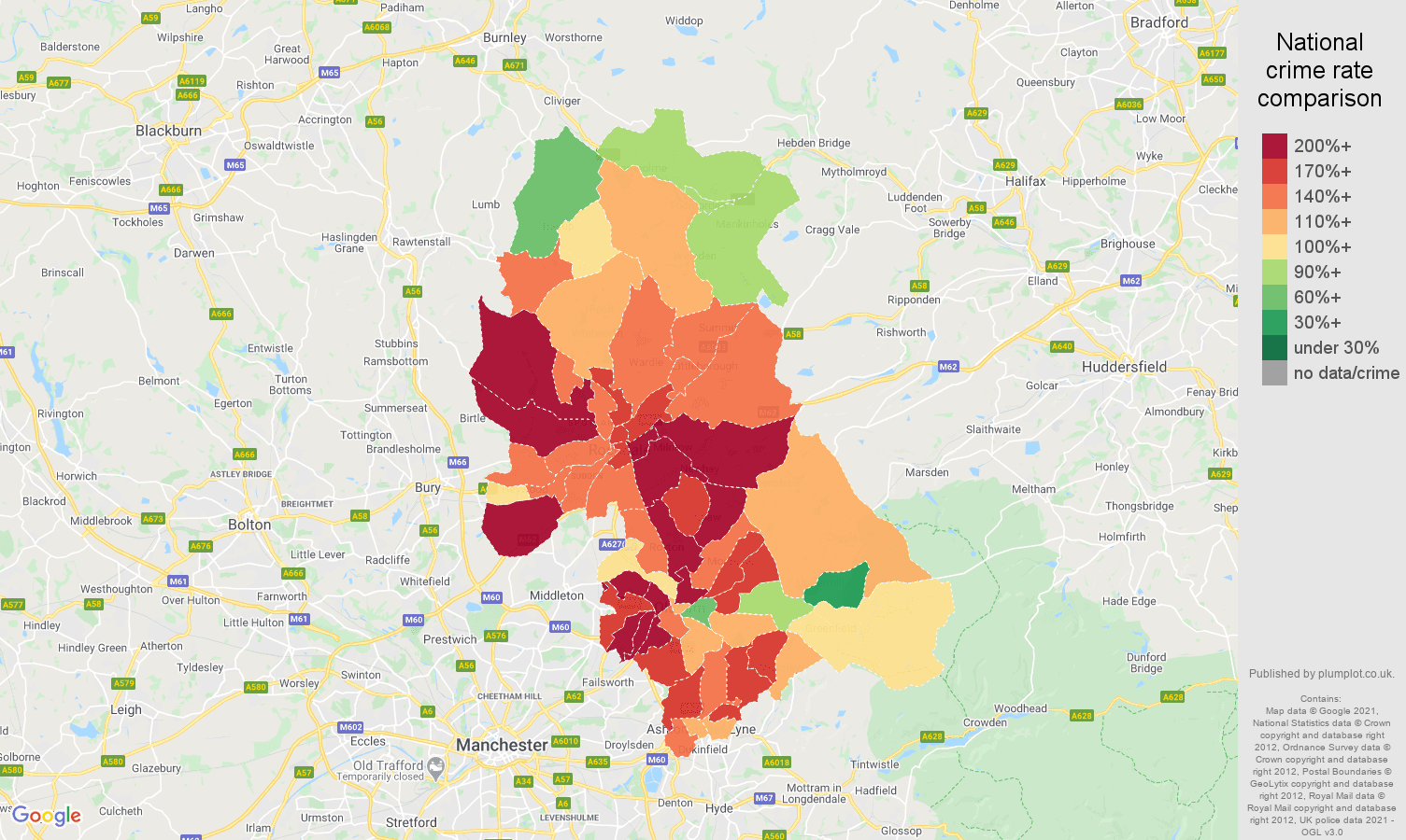 Oldham vehicle crime rate comparison map